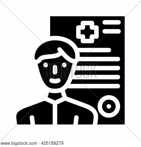 Medical Data Client Information Kyc Glyph Icon Vector. Medical Data Client Information Kyc Sign. Iso