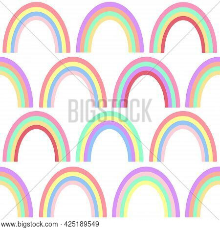 Seamless Pattern With Rainbows, Vector Illustration. Multicolored Rainbows, Continuous Repeating Bac