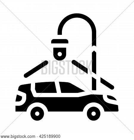 Car Parking Video Surveillance Glyph Icon Vector. Car Parking Video Surveillance Sign. Isolated Cont