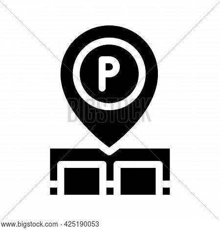 Gps Mark Of Parking Location Glyph Icon Vector. Gps Mark Of Parking Location Sign. Isolated Contour