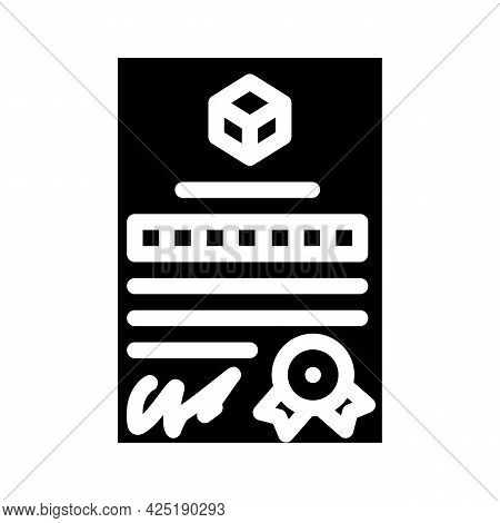 Patent Document For Production Glyph Icon Vector. Patent Document For Production Sign. Isolated Cont