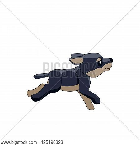 The Little Dark Wolf Cub Runs And Plays. Cartoon Character Of A Dangerous Mammal Animal. A Wild Fore