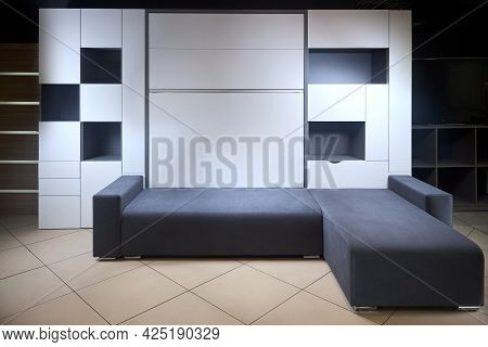Bedroom Interior Flat With Folded Vertical Murphy Wall Bed, Roll-away Pull Out Bed Stored Into Wardr