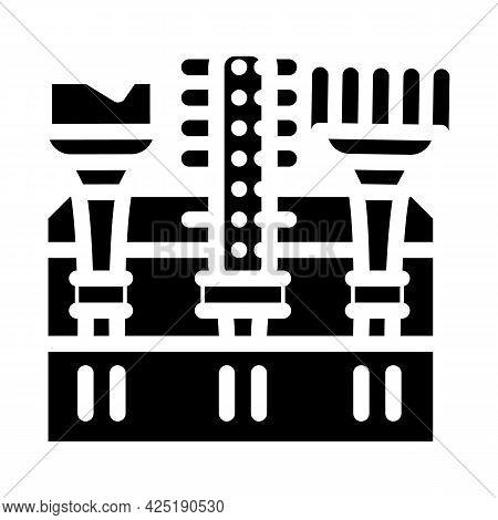 Tool Set Stylist Glyph Icon Vector. Tool Set Stylist Sign. Isolated Contour Symbol Black Illustratio