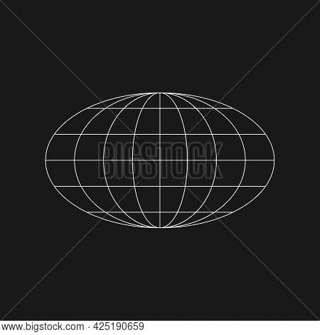 Cyber Retrofuturistic Ellipse Planet Shape. Trendy Cyber Element. Ellipse Geometry For Poster, Cover