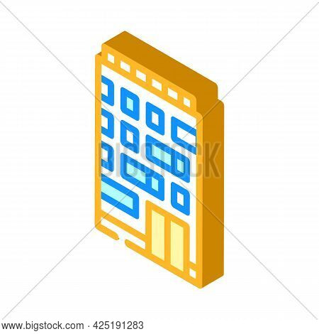 Apartment House Isometric Icon Vector. Apartment House Sign. Isolated Symbol Illustration
