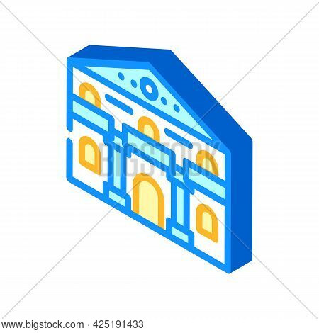 Ancient House Isometric Icon Vector. Ancient House Sign. Isolated Symbol Illustration