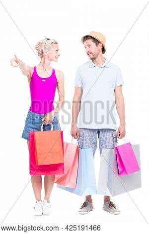 Vertical Full Length Studio Portrait Of Handsome Man And Beautiful Woman Wearing Summer Outfits Carr