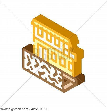 On Edge Of Precipice House Isometric Icon Vector. On Edge Of Precipice House Sign. Isolated Symbol I