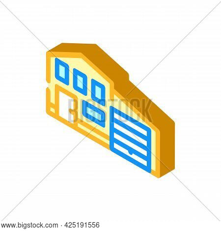 House With Garage Isometric Icon Vector. House With Garage Sign. Isolated Symbol Illustration