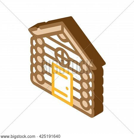 Wooden Hut House Isometric Icon Vector. Wooden Hut House Sign. Isolated Symbol Illustration