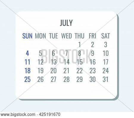 July Year 2021 Vector Monthly Plain Minimalist Simple Light Calendar. Week Starting From Sunday.