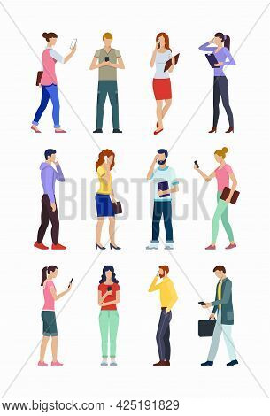 Set Of People Using Smartphones. Group Of Young Men And Women Using Phones For Call, Texting, Talkin