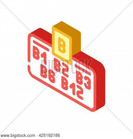Vitamin B Group Isometric Icon Vector. Vitamin B Group Sign. Isolated Symbol Illustration