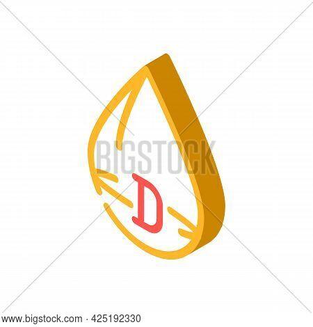 Vitamin D Drop Isometric Icon Vector. Vitamin D Drop Sign. Isolated Symbol Illustration