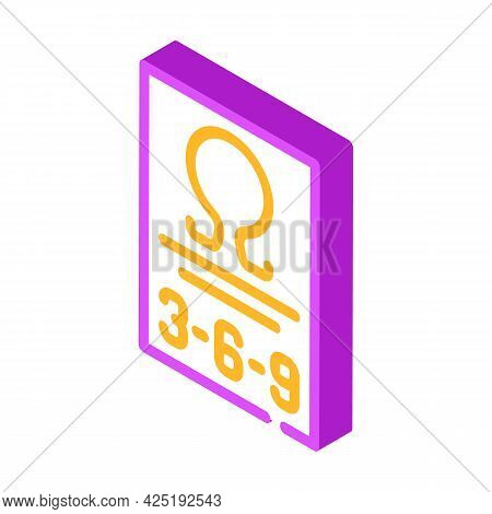 Omega 369 Nutrition Fact Isometric Icon Vector. Omega 369 Nutrition Fact Sign. Isolated Symbol Illus