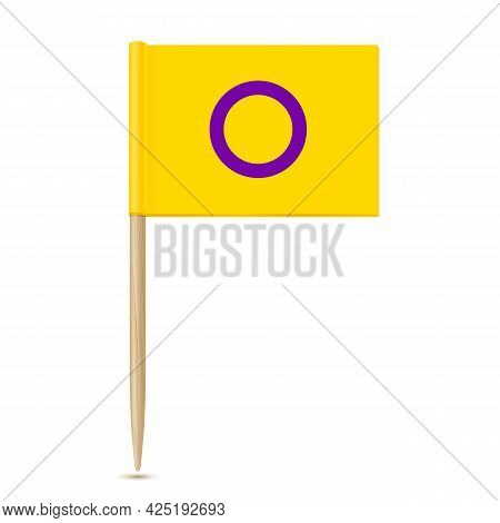Intersex Flag. Toothpick Flag Isolater On White