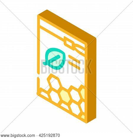 Organic White Beeswax Pellets Isometric Icon Vector. Organic White Beeswax Pellets Sign. Isolated Sy