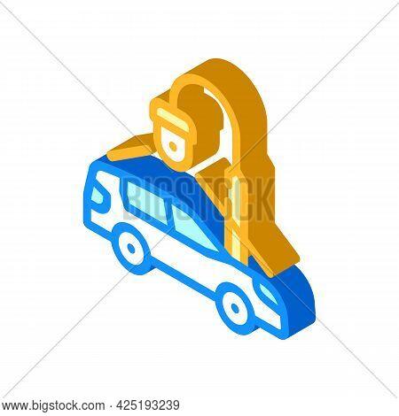 Car Parking Video Surveillance Isometric Icon Vector. Car Parking Video Surveillance Sign. Isolated
