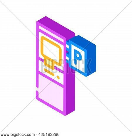 Electronic Machine For Buy Ticket Of Parking Isometric Icon Vector. Electronic Machine For Buy Ticke