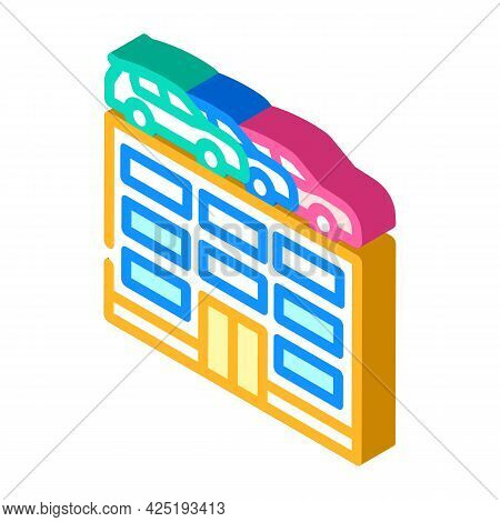 Building Car Parking Isometric Icon Vector. Building Car Parking Sign. Isolated Symbol Illustration