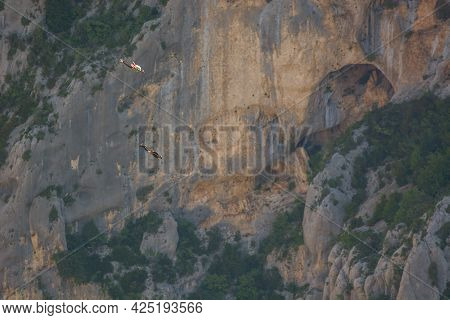 Base-jump Jumping In The Verdon Gorges.