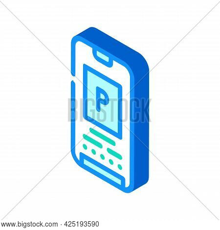 Electronic Parking Ticket On Phone Screen Isometric Icon Vector. Electronic Parking Ticket On Phone