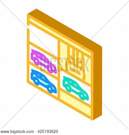 Lift In Multi Level Parking Isometric Icon Vector. Lift In Multi Level Parking Sign. Isolated Symbol