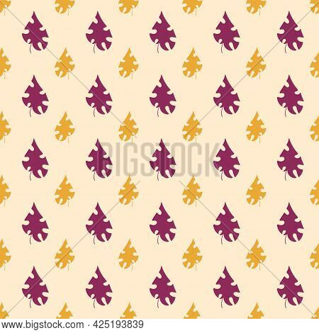 Simple Warm Colors Seamless Pattern With Monstera Leaves Vector. Floral Pattern By Orange And Purple