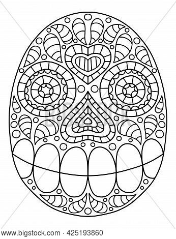 Hand-drawn Ornamental Skull Linear Vector Illustration. Dia De Muertos Coloring Page For Adults. Dec