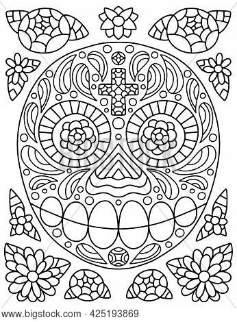 Dia De Muertos Coloring Page For Adults Vector Illustration. Hand-drawn Skull With Cross And Flowers