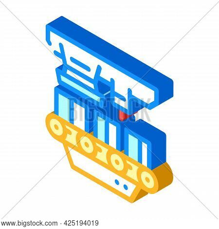 Factory Conveyor Production Isometric Icon Vector. Factory Conveyor Production Sign. Isolated Symbol