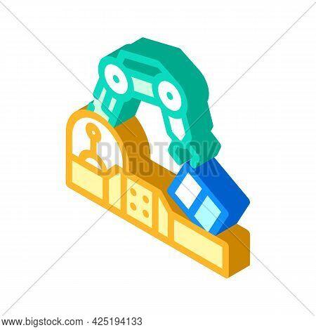 Robotic Arm Conveyor Production Isometric Icon Vector. Robotic Arm Conveyor Production Sign. Isolate