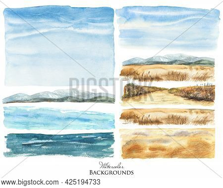 Watercolor Landscape Elements. Wild Beach, Blue Sky, Dry Grass, Sea Water Background, Mountains View