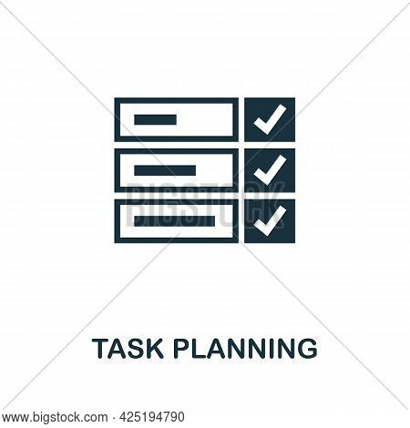 Task Planning Icon. Simple Creative Element. Filled Monochrome Task Planning Icon For Templates, Inf
