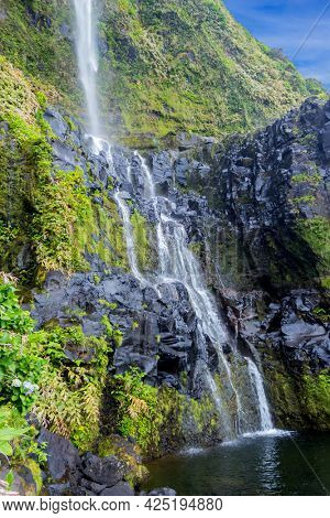 Azores waterfalls and cliffs in Flores island. Portugal.