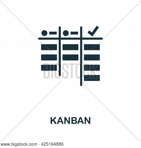 Kanban Icon. Simple Creative Element. Filled Monochrome Kanban Icon For Templates, Infographics And
