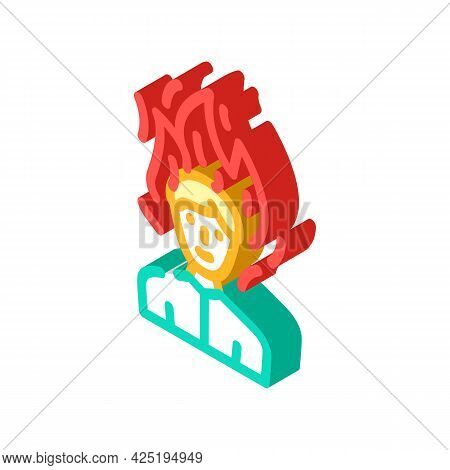 Burning Man After Wasabi Isometric Icon Vector. Burning Man After Wasabi Sign. Isolated Symbol Illus