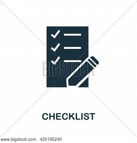 Checklist Icon. Simple Creative Element. Filled Monochrome Checklist Icon For Templates, Infographic