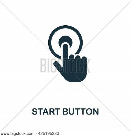 Start Button Icon. Simple Creative Element. Filled Monochrome Start Button Icon For Templates, Infog