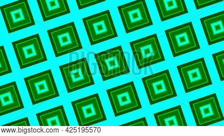 Mosaic Blinking Background With The Field Of Green Squares Getting Closer. Motion. Psychedelic Rhomb