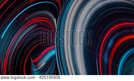 Fantastic Futuristic Background With Twisted Substances Colored In Neon Lights. Animation. Energy Im