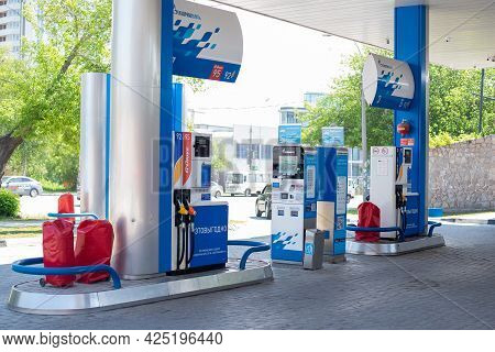 Novosibirsk, Russia May 27, 2021: Gazprom Self-service Gas Station