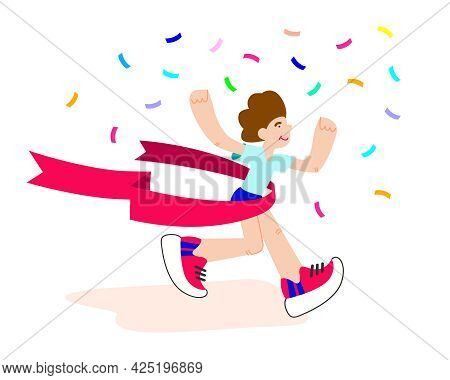 Happy Winner. Runner Crossing The Finish Line With Red Ribbon. Finisher Of Marathon With Confetti. M