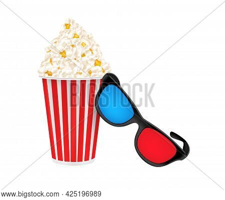 3d Glasses And Popcorn In A Cardboard Cup. Vector Image On White Background
