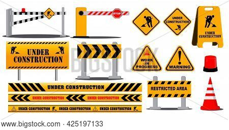 Set Of Road Barrier Highway Sign Or Under Construction Site Warning Or Barricade Block Highway Stree