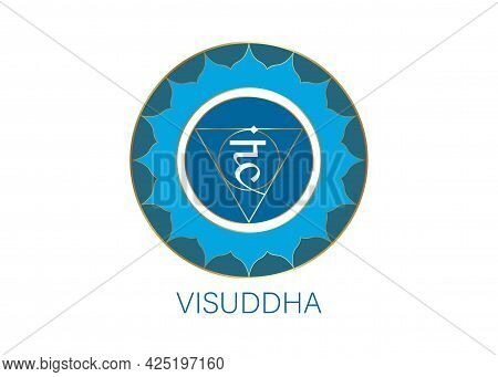 Fifth Throat Chakra Visuddha With The Hindu Sanskrit Seed Mantra Vam. Blue Is A Flat Design Style Sy
