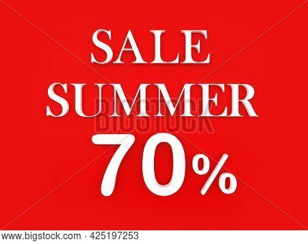 Text Summer Sale Seventy Percent On Red. 3d Illustration