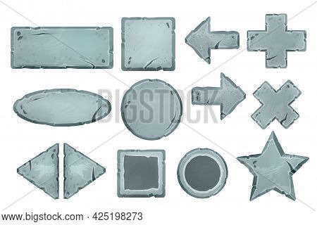 Vector Cartoon Stone Sign Board Set, Ui Rock Button Collection Isolated On White, Rectangle, Round F