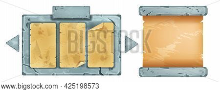 Vector Stone Sign Board Menu, Game Ui Paper Sheet, Cracked Rock Frame Illustration Isolated On White